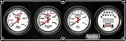 QUICK CAR EXTREME 4 GAUGE PANELS-Oil Pressure/Oil Temp/Digital Tachometer/Water Temp - White Face - Warning Light - Kit