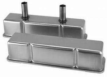 STEEL SBC VALVE COVERS WITH BREATHER TUBES