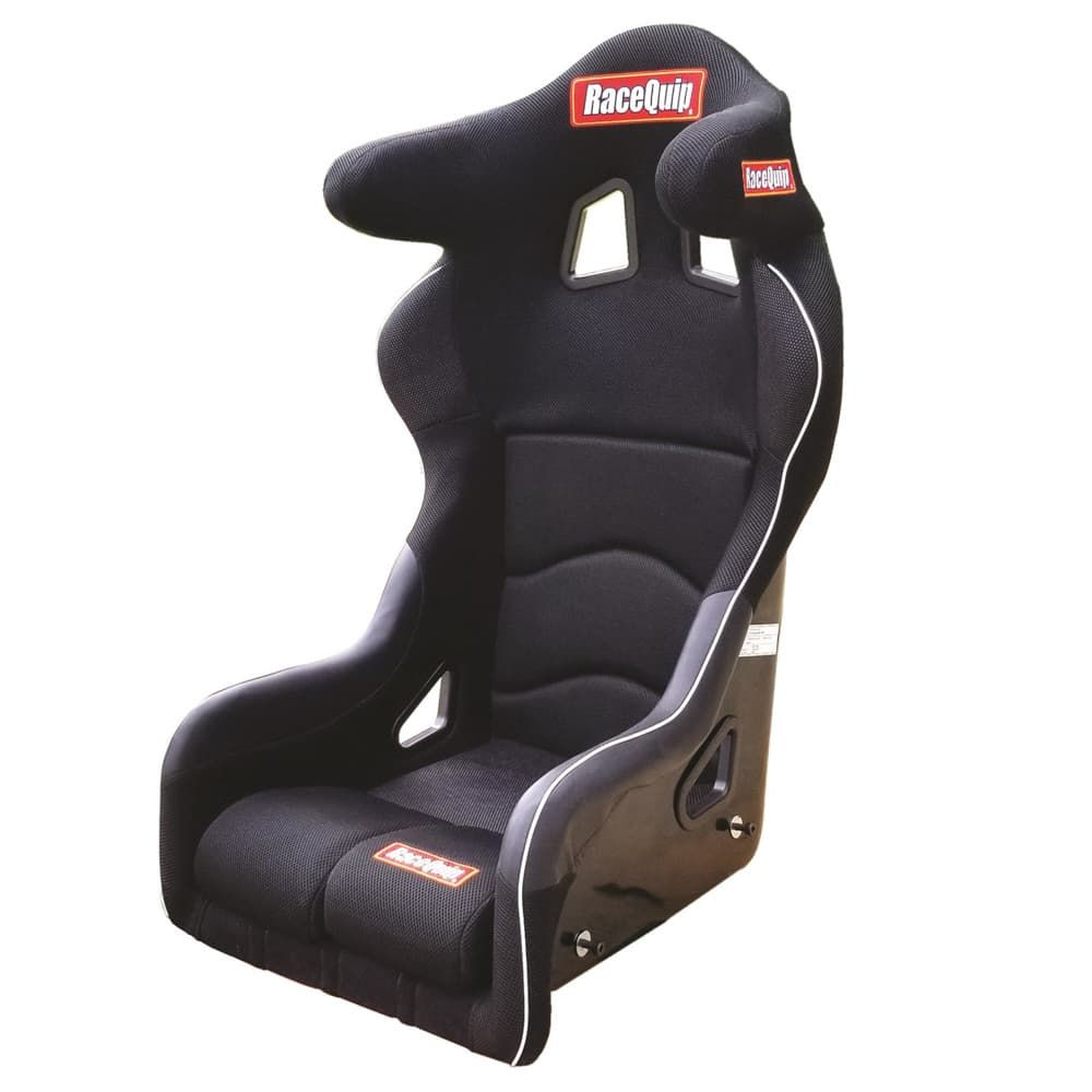 RACEQUIP FIA Seat, Non-Reclining, FIA Approved, 15 in Wide, Side Bolsters, Harness Openings, Fiberglass Composite, Fabric, Black, Each