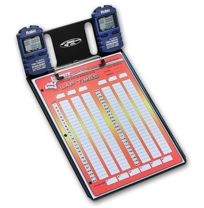 LONGACRE Clipboard, Two Robic SC-606W Stop Watches / Color Lap Charts Included, Aluminum, Black Powder Coat, Each