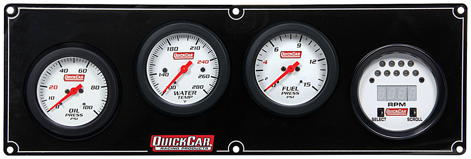 QuickCar Extreme 3-1 Gauge Panel 61-7042-Gauge Panel Assembly, Extreme, Fuel Pressure / Oil Pressure / Digital Tachometer / Water Temperature, White Face, Warning Light, Kit