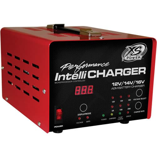 XS Power 1005 12,14, &16 Volt IntelliCharger LED indicators plus Digital Voltage & Amperage Gauge