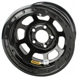 Bassett D-Hole IMCA 15 Inch Wheel, 15 x 8, 5 on 4-3/4, Beadlock, Black-One Wheel at this special price