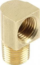 CTS Fitting, Adapter, 90 Degree, 1/8 in NPT Male to 3/8-24 in Inverted Flare Female, Brass, Natural, 3/16 in Hardline, Set of 4