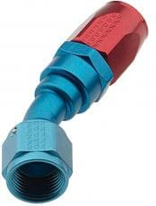 FRAGNOLA Fitting, Hose End, 2000 Series Pro Flow, 30 Degree, Swivel, Aluminum, Blue / Red Anodize