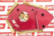 SWEET Power Steering Pump Bracket, Driver Side, Head Mount, Billet Aluminum, Red Anodize, Small Block Chevy, Kit