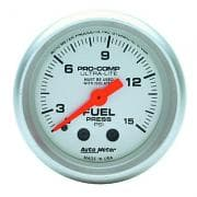 USED Fuel Pressure Gauge, Ultra-Lite, 0-15 psi, Mechanical, Analog, 2-1/16 in Diameter, Silver Face