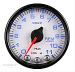 Spek-Pro Tachometer, 0-11,000 RPM, 2 1/16 in. Diameter, White Face, Analog, Electrical