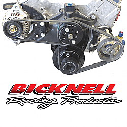 BICKNELL SBC-CRATE Serpentine Pulley Kit Complete with Alternator and Power Steering Pump & Black Brackets